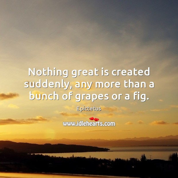 Nothing great is created suddenly, any more than a bunch of grapes or a fig. Image