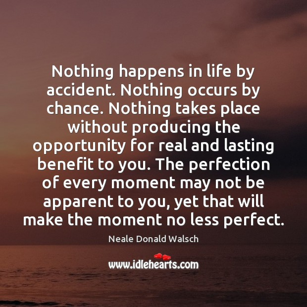 Nothing happens in life by accident. Nothing occurs by chance. Nothing takes Chance Quotes Image