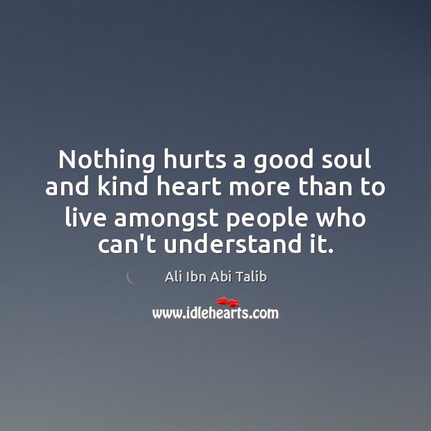 Nothing hurts a good soul and kind heart more than to live Ali Ibn Abi Talib Picture Quote
