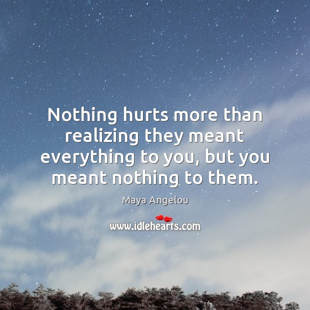 Image, Nothing hurts more than realizing they meant everything to you, but you