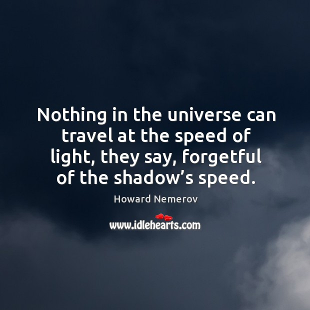 Nothing in the universe can travel at the speed of light, they say, forgetful of the shadow's speed. Image