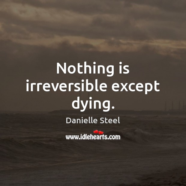 Nothing is irreversible except dying. Danielle Steel Picture Quote