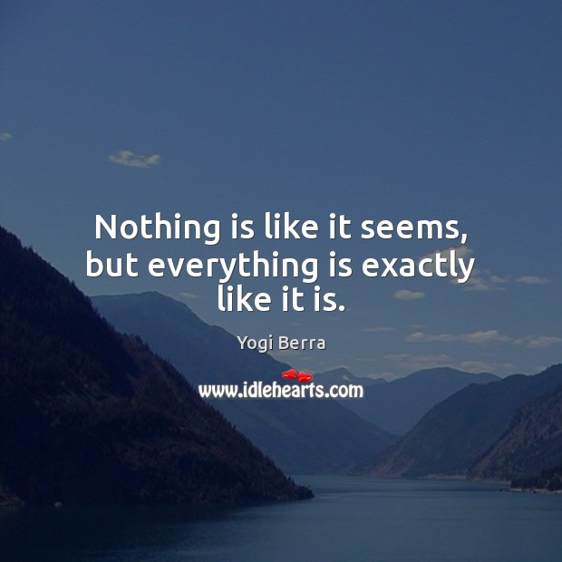 Image, Nothing is like it seems, but everything is exactly like it is.