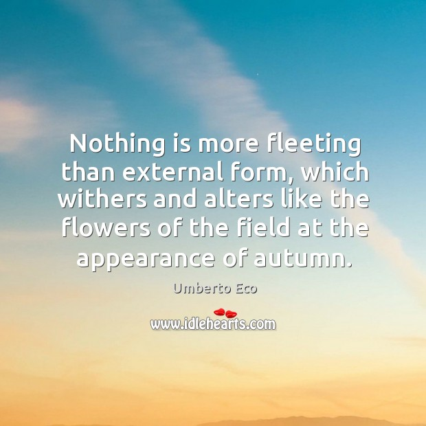 Image, Nothing is more fleeting than external form, which withers and alters like