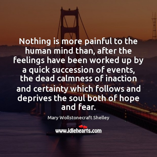 Nothing is more painful to the human mind than, after the feelings Mary Wollstonecraft Shelley Picture Quote