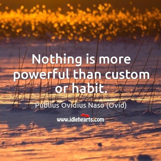 Nothing is more powerful than custom or habit. Image