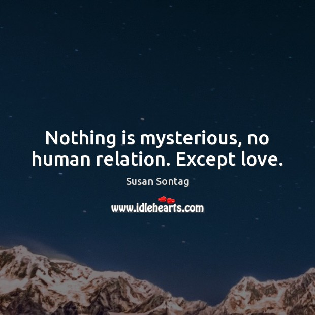 Nothing is mysterious, no human relation. Except love. Susan Sontag Picture Quote