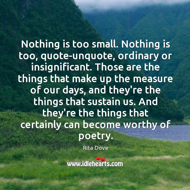 Nothing is too small. Nothing is too, quote-unquote, ordinary or insignificant. Those Rita Dove Picture Quote