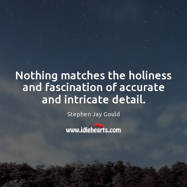 Nothing matches the holiness and fascination of accurate and intricate detail. Stephen Jay Gould Picture Quote