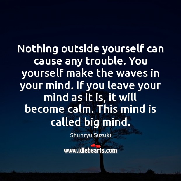 Image, Nothing outside yourself can cause any trouble. You yourself make the waves