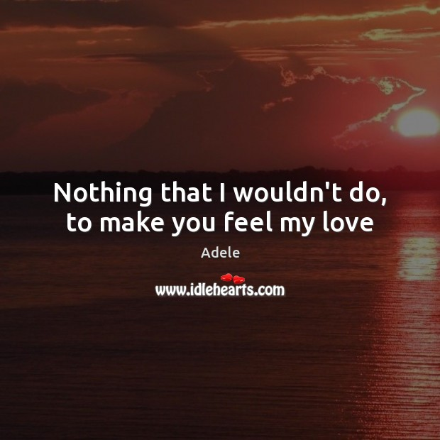 Nothing that I wouldn't do, to make you feel my love Adele Picture Quote
