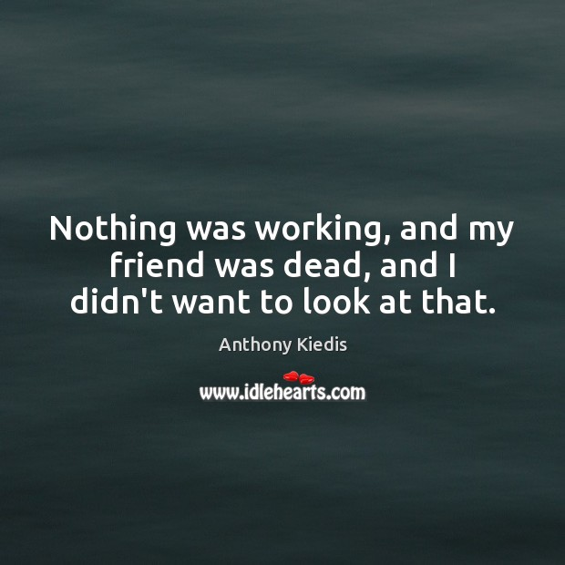 Nothing was working, and my friend was dead, and I didn't want to look at that. Anthony Kiedis Picture Quote