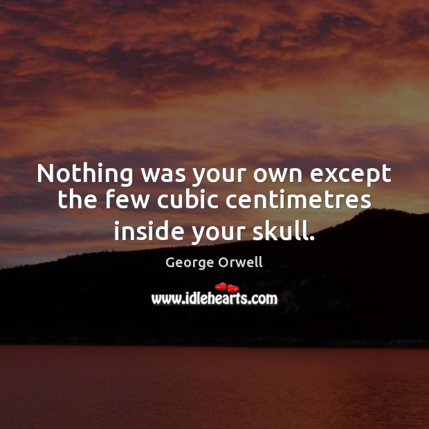 Nothing was your own except the few cubic centimetres inside your skull. George Orwell Picture Quote