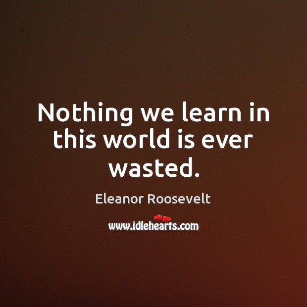 Nothing we learn in this world is ever wasted. Eleanor Roosevelt Picture Quote