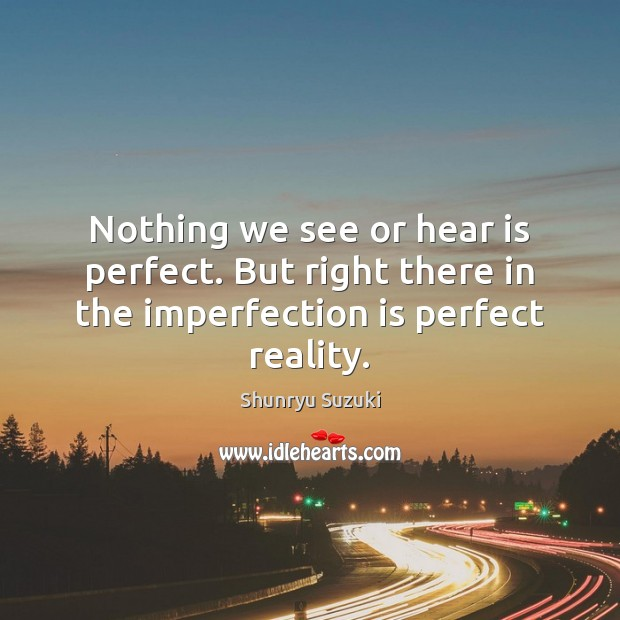 Image, Nothing we see or hear is perfect. But right there in the imperfection is perfect reality.