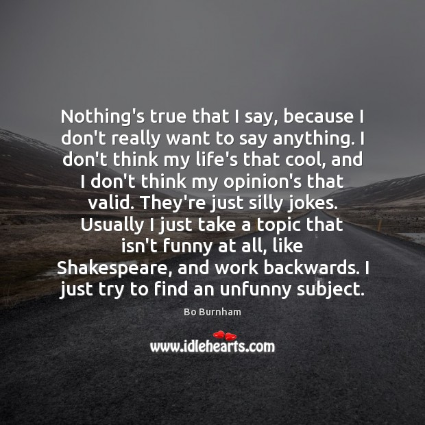Nothing's true that I say, because I don't really want to say Bo Burnham Picture Quote