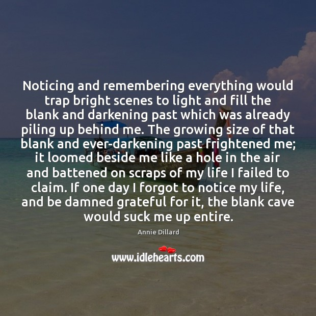 Noticing and remembering everything would trap bright scenes to light and fill Image