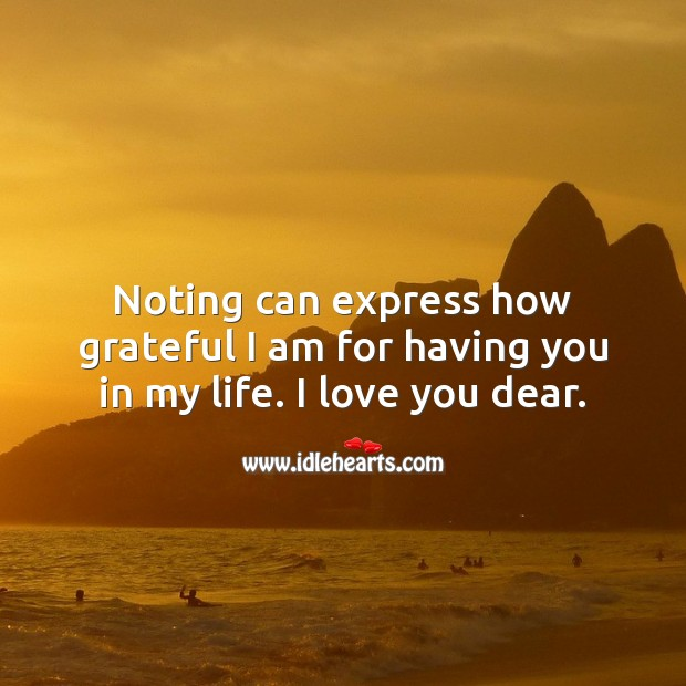 Noting can express how grateful I am for having you in my life. I love you. Beautiful Love Quotes Image
