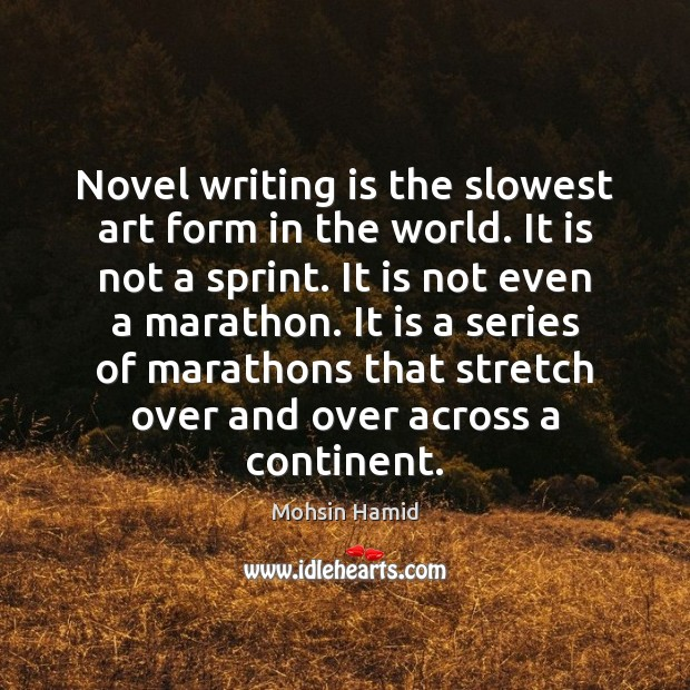 Novel writing is the slowest art form in the world. It is Mohsin Hamid Picture Quote