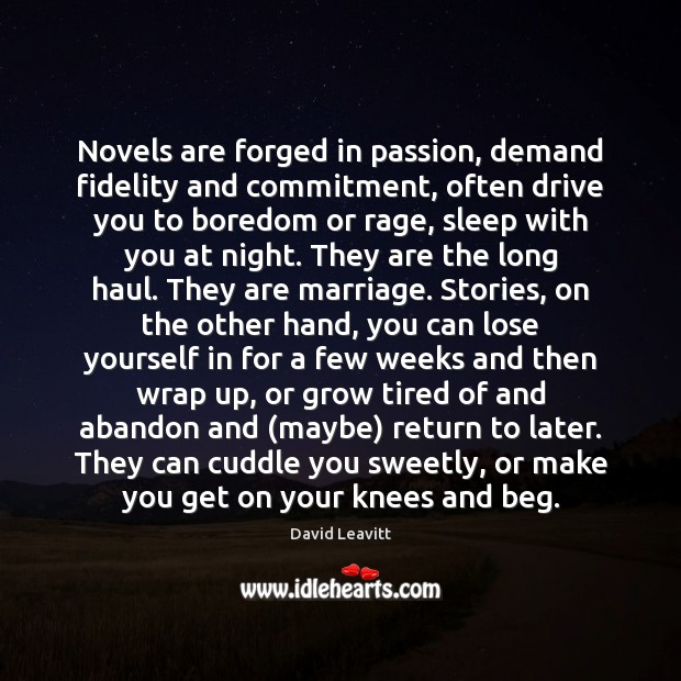 Novels are forged in passion, demand fidelity and commitment, often drive you Image