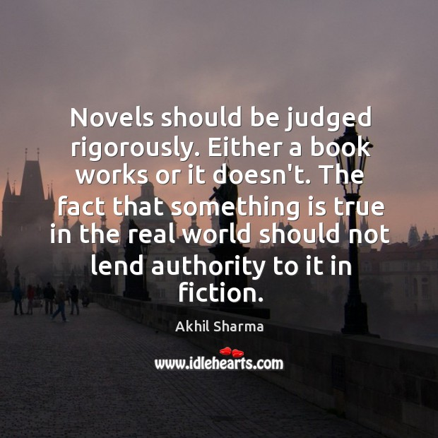 Image, Novels should be judged rigorously. Either a book works or it doesn't.