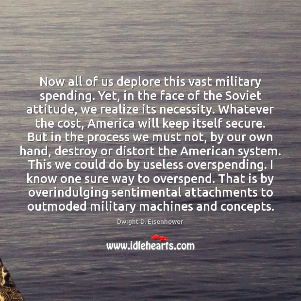 Now all of us deplore this vast military spending. Yet, in the Image