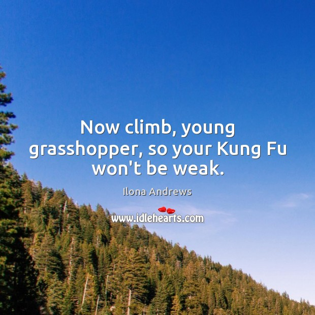 Now climb, young grasshopper, so your Kung Fu won't be weak. Ilona Andrews Picture Quote