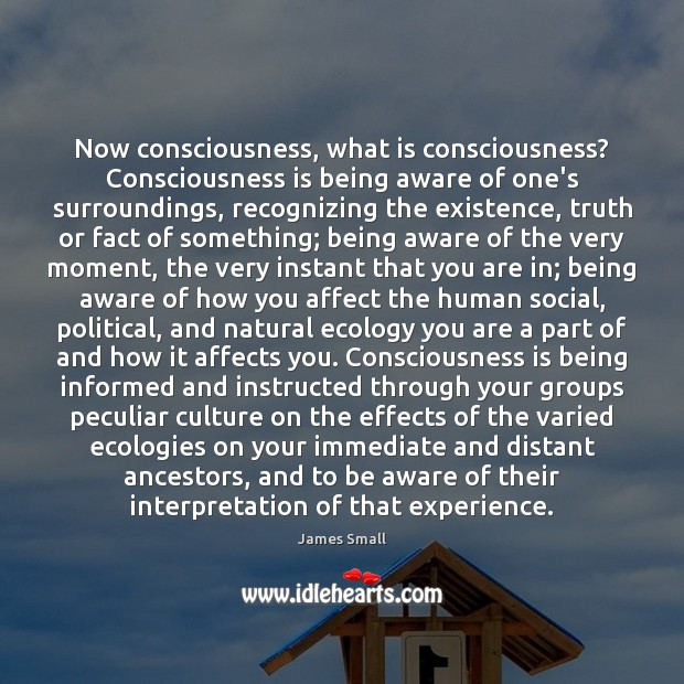 Now consciousness, what is consciousness? Consciousness is being aware of one's surroundings, Image