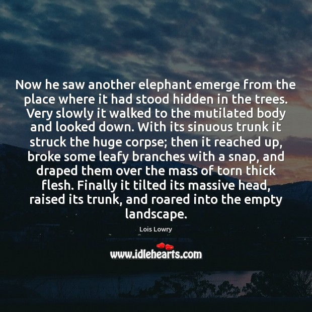Now he saw another elephant emerge from the place where it had Lois Lowry Picture Quote