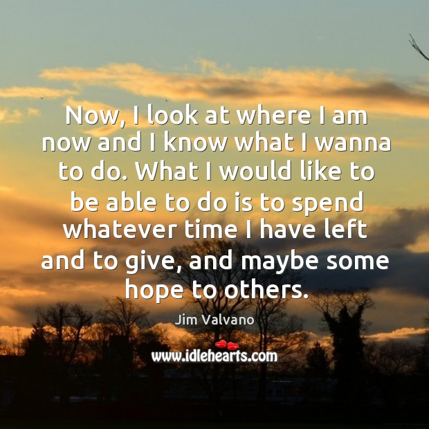 Image, Now, I look at where I am now and I know what I wanna to do.