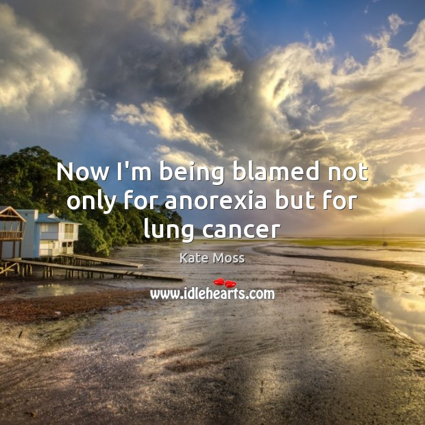 Now I'm being blamed not only for anorexia but for lung cancer Kate Moss Picture Quote