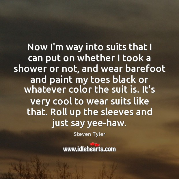 Now I'm way into suits that I can put on whether I Steven Tyler Picture Quote