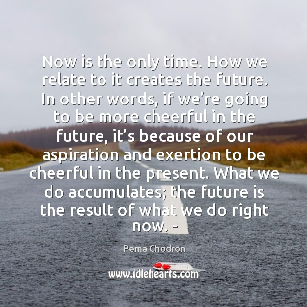 Image, Now is the only time. How we relate to it creates the future. In other words