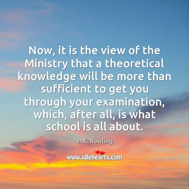 Image, Now, it is the view of the Ministry that a theoretical knowledge