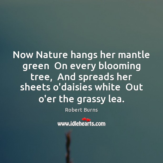 Image, Now Nature hangs her mantle green  On every blooming tree,  And spreads