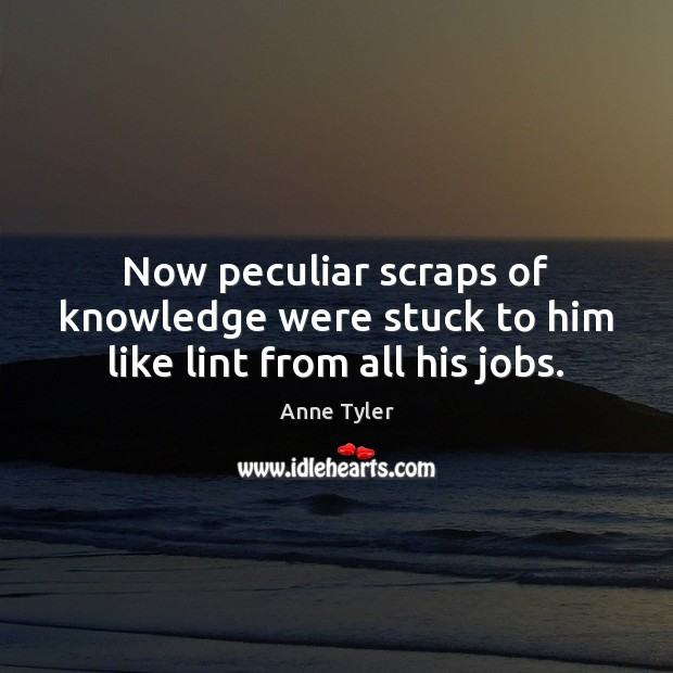 Image, Now peculiar scraps of knowledge were stuck to him like lint from all his jobs.