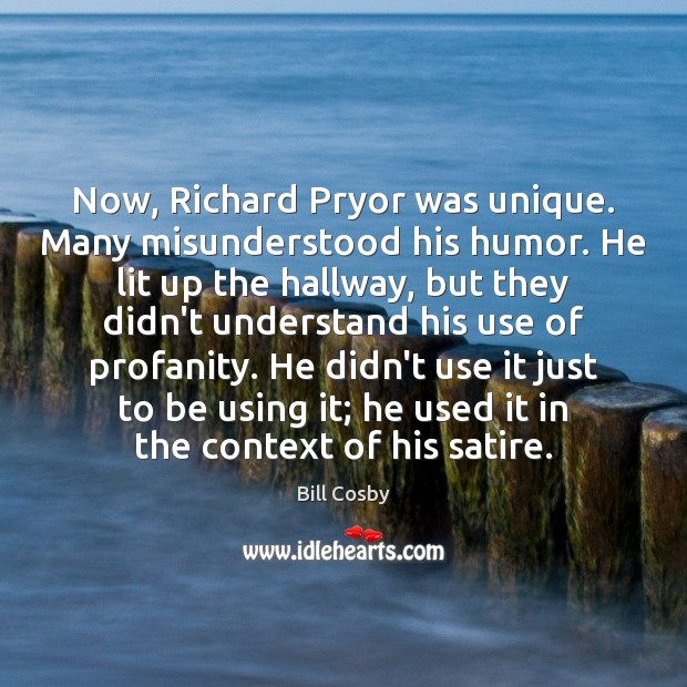 Now, Richard Pryor was unique. Many misunderstood his humor. He lit up Image
