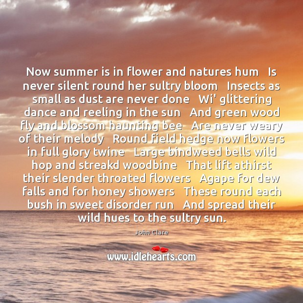 Image, Now summer is in flower and natures hum   Is never silent round