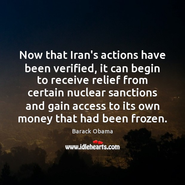 Now that Iran's actions have been verified, it can begin to receive Image