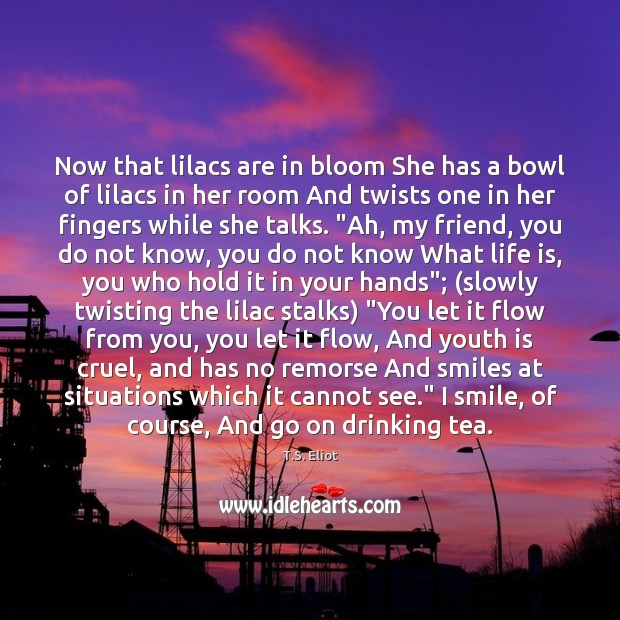 Now that lilacs are in bloom She has a bowl of lilacs Image