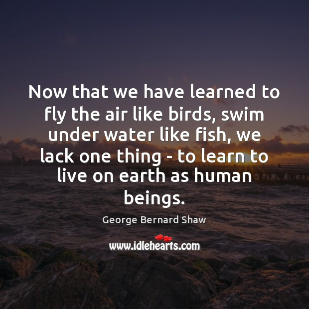 Now that we have learned to fly the air like birds, swim Image