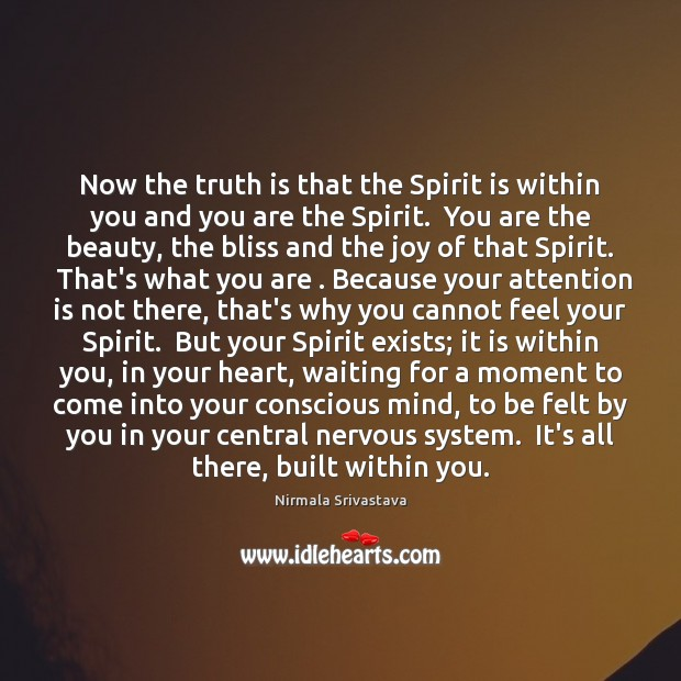 Now the truth is that the Spirit is within you and you Nirmala Srivastava Picture Quote