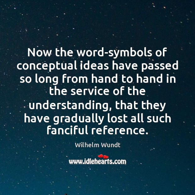 Now the word-symbols of conceptual ideas have passed so long from hand Wilhelm Wundt Picture Quote
