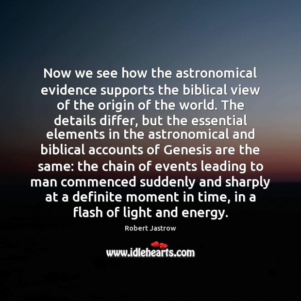 Now we see how the astronomical evidence supports the biblical view of Image