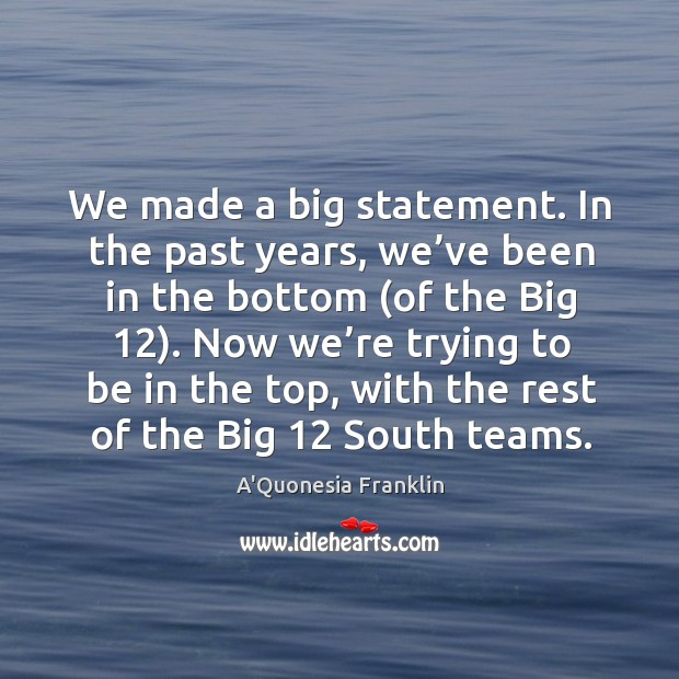 Now we're trying to be in the top, with the rest of the big 12 south teams. Image