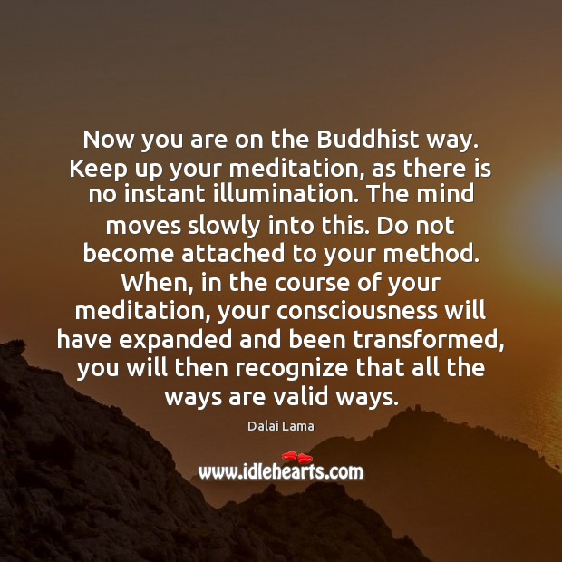Now you are on the Buddhist way. Keep up your meditation, as Image