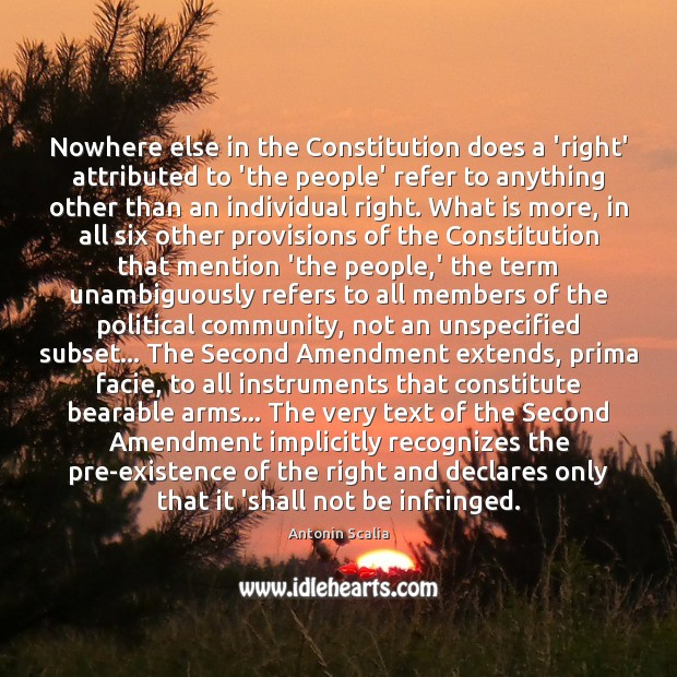 Image, Nowhere else in the Constitution does a 'right' attributed to 'the people'
