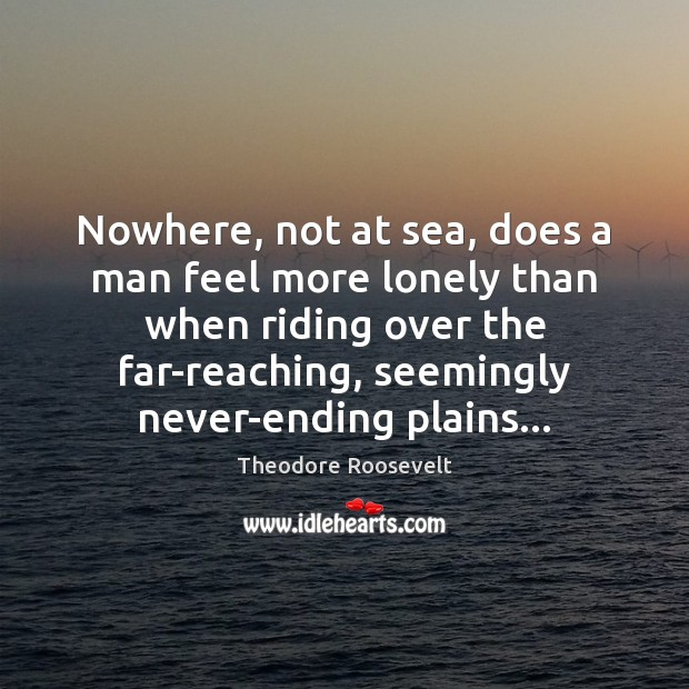 Nowhere, not at sea, does a man feel more lonely than when Theodore Roosevelt Picture Quote