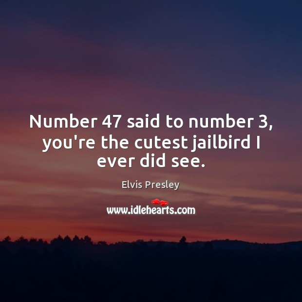 Number 47 said to number 3, you're the cutest jailbird I ever did see. Image