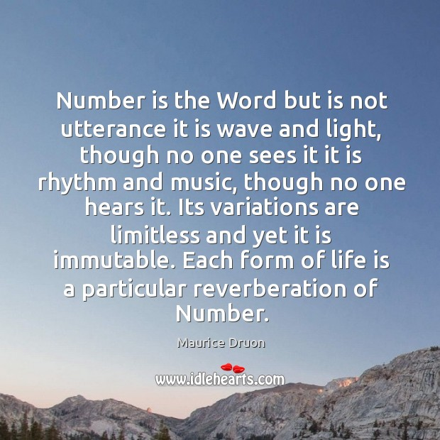 Number is the Word but is not utterance it is wave and Image